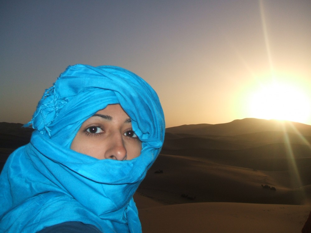 At sunrise in the Sahara desert after the camel ride.