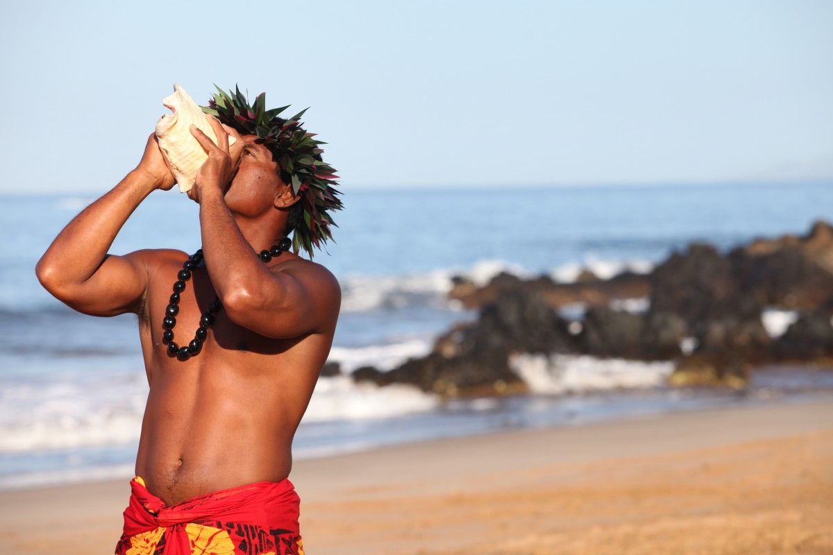 Hawaiian cultural conch shell ceremony. Photo by  - Fairmont Kea Lani.