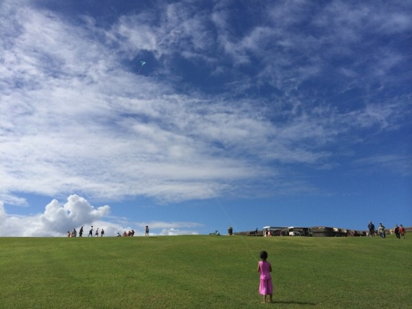 Simple pleasures in life: flying a kit at the historic fort, El Morro, in Puerto Rico.