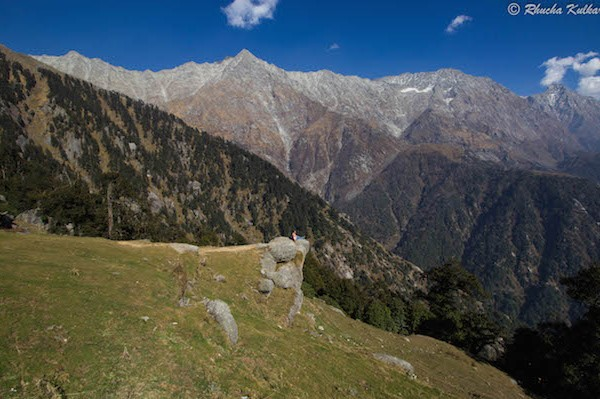 Rhucha soaking in the serenity at Triund.