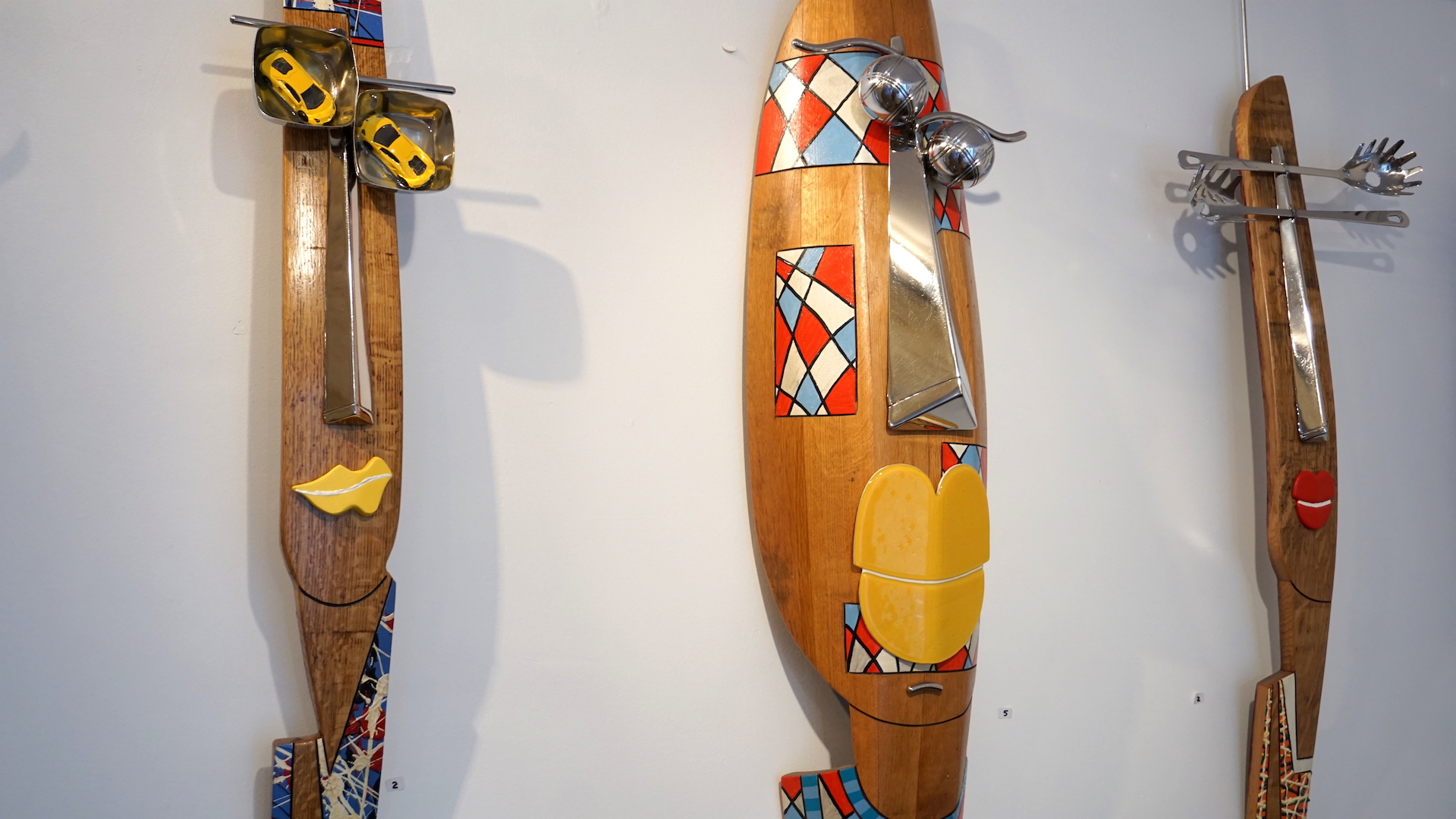 "Made of wine barrel staves and stainless steal, Maurice Barbette's ""Douelle'men"" are fun and creative works of art."