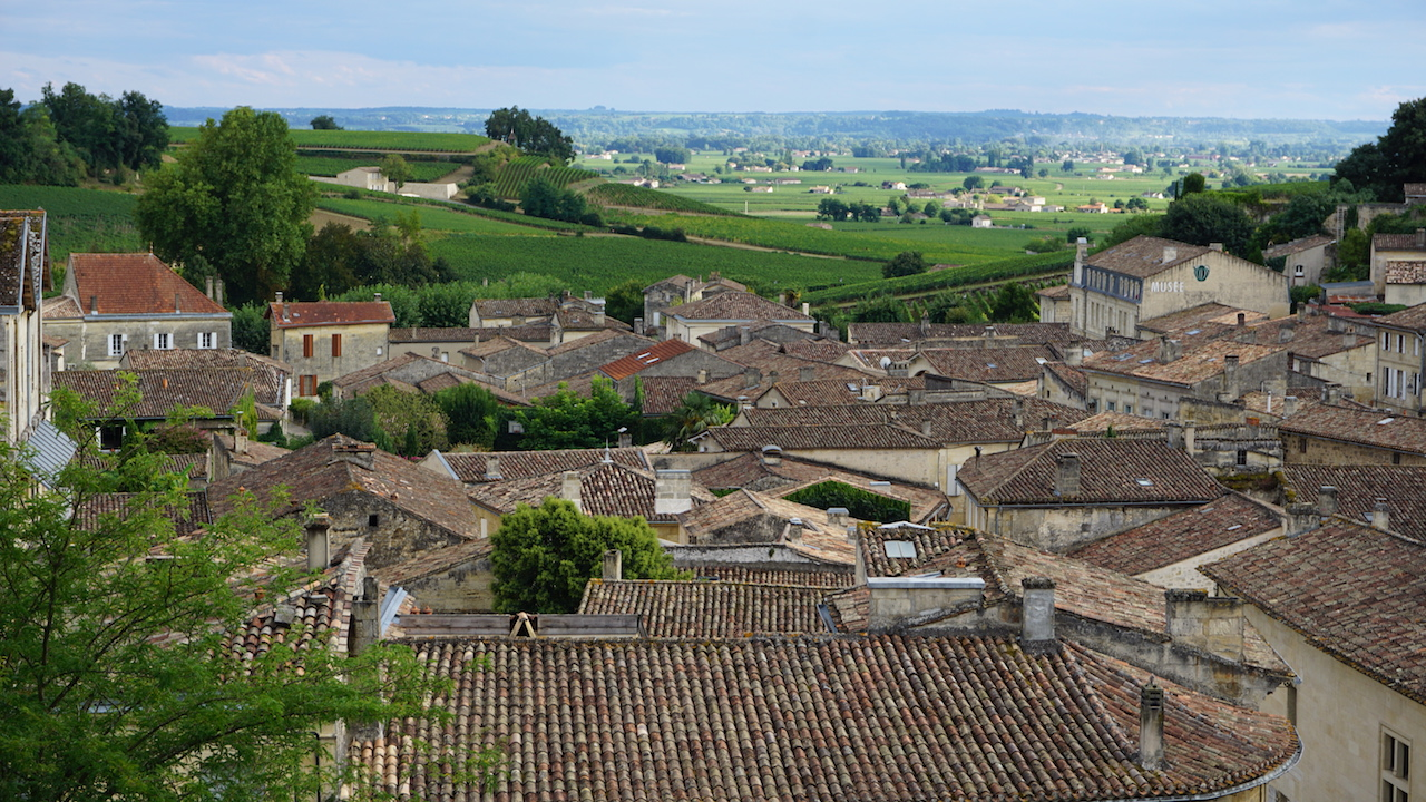 Saint-Émilion is built on a hill overlooking its famous vineyard landscape.